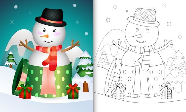 Livro de colorir com bonecos de neve fofos, personagens natalinos usando chapéu e lenço na caixa de presente