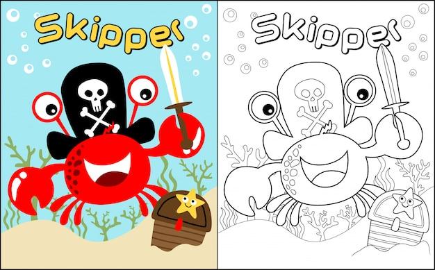 Livro de colorir com caranguejo engraçado