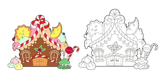 Livro de colorir com casa de gengibre, doces de natal e vetor de árvore de natal de ano novo