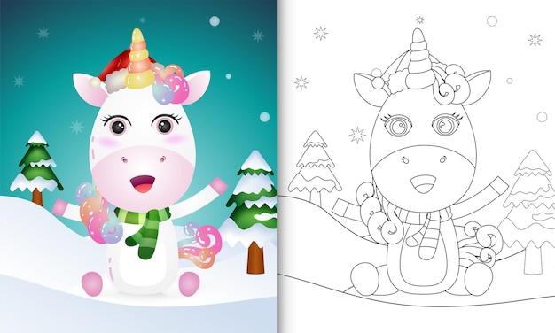 Livro de colorir com coleção de personagens natalinos de cervo-unicórnio com chapéu e lenço