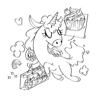 Livro de colorir com compras de cupcakes de unicórnio super fofos