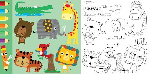 Livro de colorir com conjunto de desenhos animados de animais
