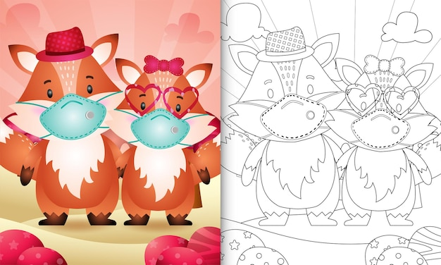 Livro de colorir com cute fox couple usando máscara protetora