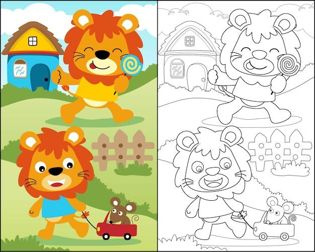 Livro de colorir com desenho animado leão engraçado