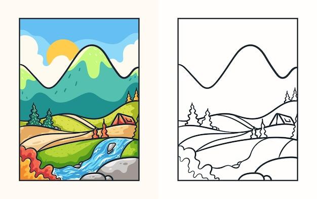 Livro de colorir com ilustração de montanhas deslumbrantes