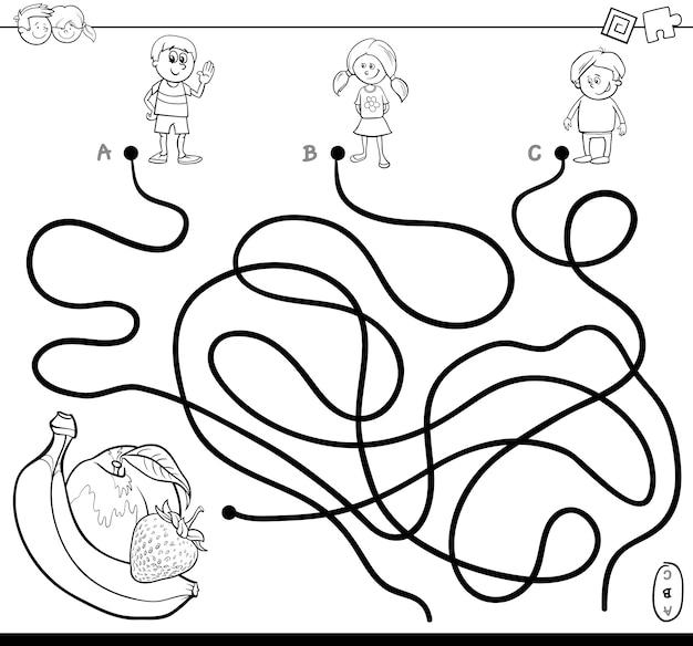 Livro de colorir com labirinto com crianças e frutas
