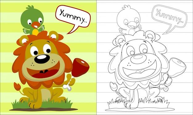 Livro de colorir com leão engraçado e pássaro