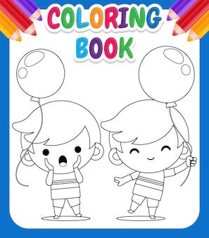 Livro de colorir com meninos segurando um balão