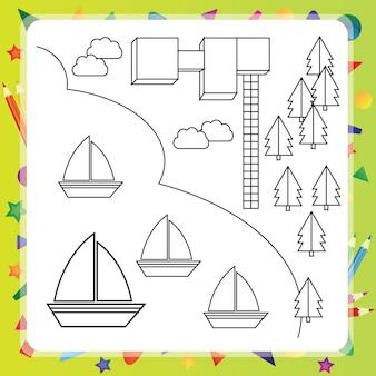 Livro de colorir com navios e mapa - ilustração vetorial
