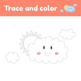 Livro de colorir com nuvem fofa. para crianças do jardim de infância, pré-escola e idade escolar. planilha de rastreamento. desenvolvimento de habilidades motoras finas e caligrafia.
