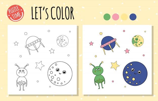 Livro de colorir com ovni, alien, planeta