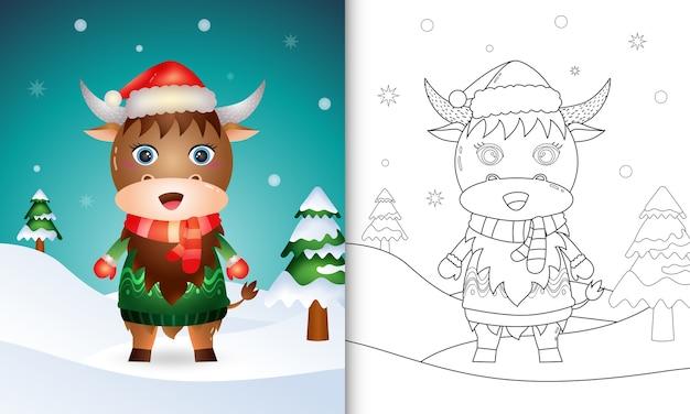 Livro de colorir com personagens de natal de búfalo fofos com chapéu de papai noel, jaqueta e lenço