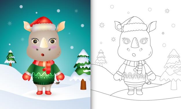 Livro de colorir com personagens de natal de rinoceronte fofos com chapéu de papai noel, jaqueta e lenço