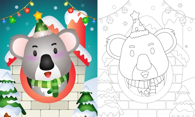 Livro de colorir com personagens de natal de um coala fofinho usando chapéu e lenço dentro de casa