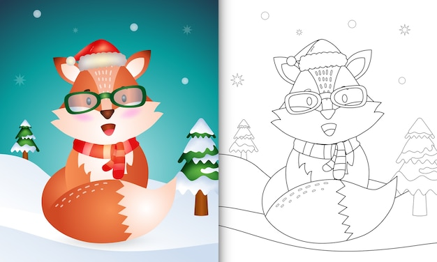 Livro de colorir com personagens de natal de uma raposa fofa com chapéu de papai noel e lenço