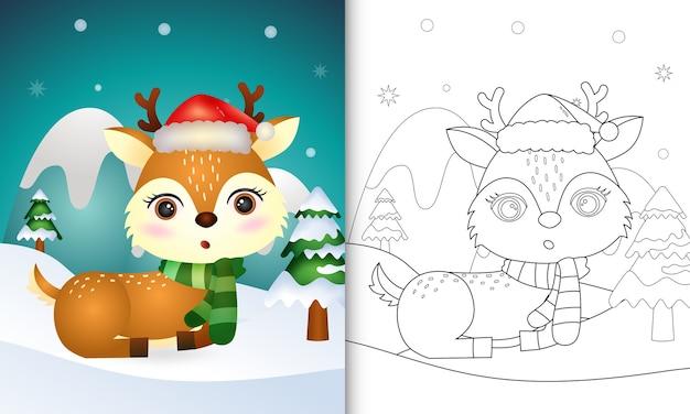 Livro de colorir com personagens fofinhos de veado e chapéu de papai noel