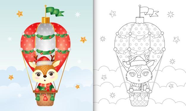 Livro de colorir com personagens fofinhos de veado em balão de ar quente com chapéu de papai noel, jaqueta e lenço