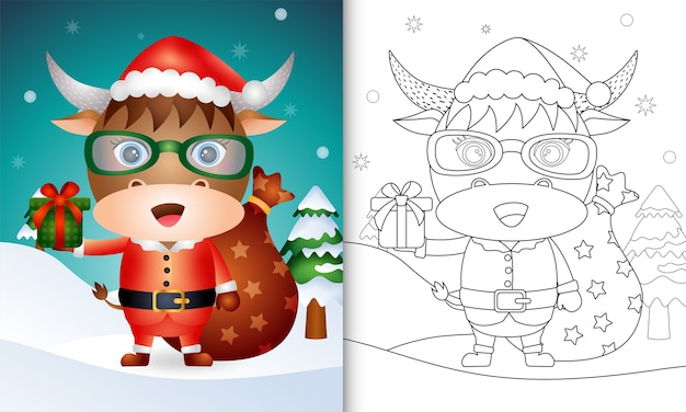 Livro de colorir com um búfalo fofo usando fantasia de papai noel