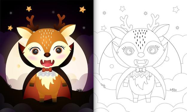 Livro de colorir com um cervo fofo usando a fantasia de drácula de halloween