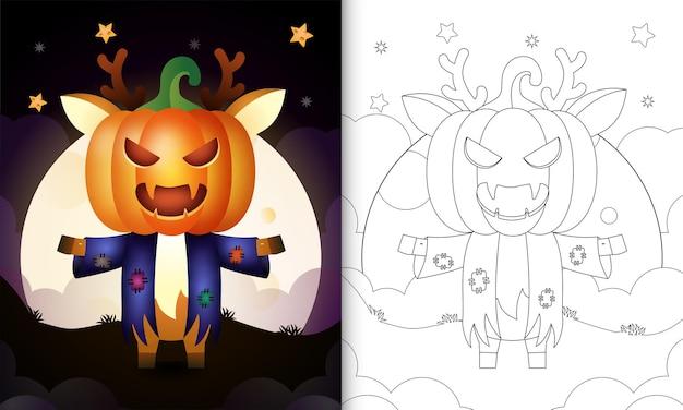 Livro de colorir com um cervo fofo usando fantasias de espantalho e abóbora de halloween