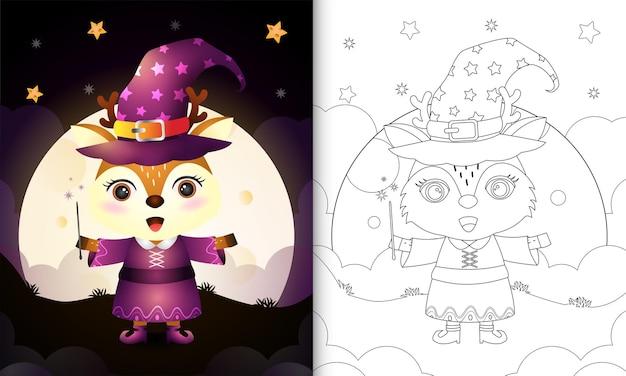 Livro de colorir com um cervo fofo usando uma fantasia de bruxa de halloween