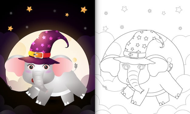 Livro de colorir com um desenho bonito de elefante bruxa de halloween em frente à lua