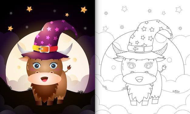 Livro de colorir com um desenho bonito de halloween bruxa búfalo em frente à lua