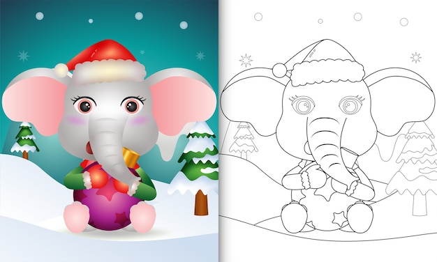 Livro de colorir com um elefante fofo abraçando uma bola de natal