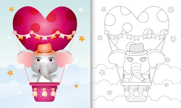 Livro de colorir com um elefante fofo em um balão de ar quente com o tema do dia dos namorados