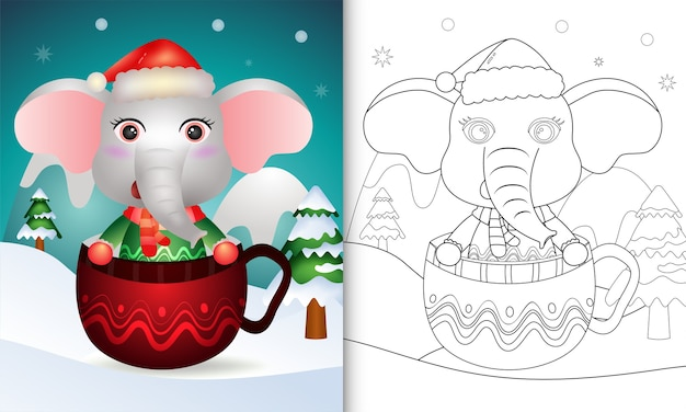 Livro de colorir com um elefante fofo personagens de natal com um chapéu de papai noel e um lenço na xícara
