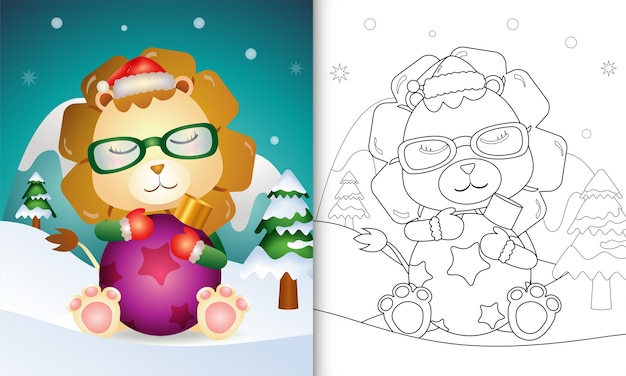 Livro de colorir com um leão fofo abraça a bola de natal