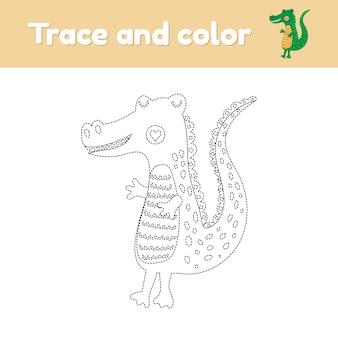 Livro de colorir com um lindo animal selvagem, um jacaré. para crianças do jardim de infância, pré-escola e idade escolar. planilha de rastreamento. desenvolvimento de habilidades motoras finas e caligrafia. ilustração vetorial