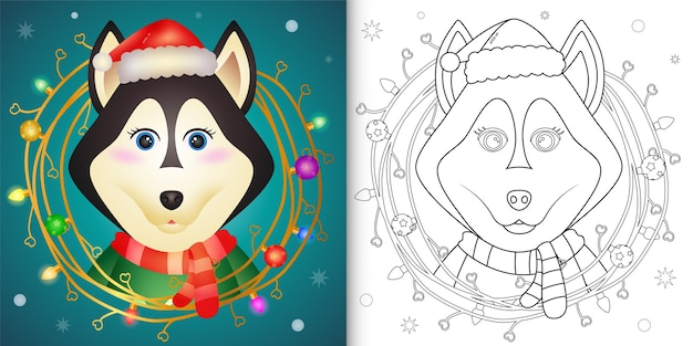Livro de colorir com um lindo cão husky com decoração de galhos natal