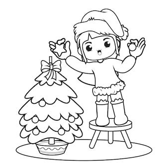 Livro de colorir com um lindo personagem de natal