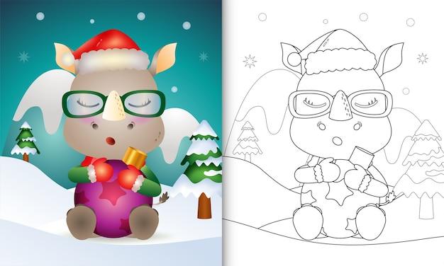 Livro de colorir com um lindo rinoceronte abraça a bola de natal