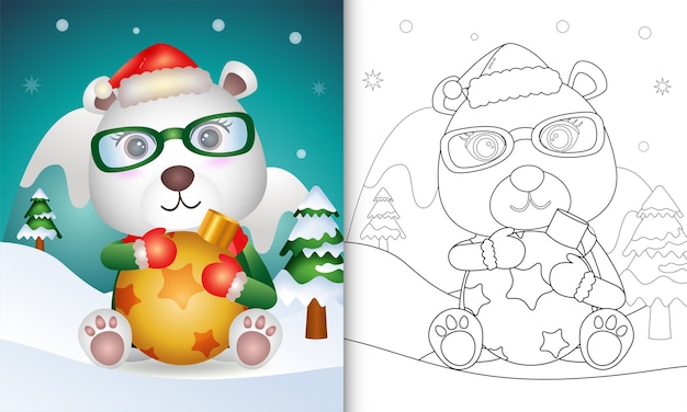 Livro de colorir com um lindo urso polar abraça uma bola de natal