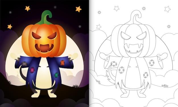 Livro de colorir com um lobo fofo usando fantasias de espantalho e abóbora de halloween