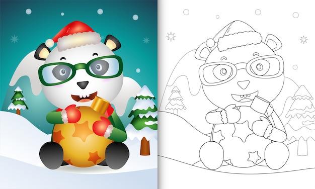Livro de colorir com um panda fofo abraça a bola de natal