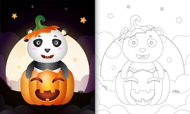 Livro de colorir com um panda fofo na abóbora de halloween