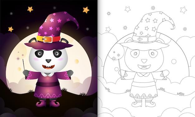 Livro de colorir com um panda fofo usando fantasia de bruxa de halloween