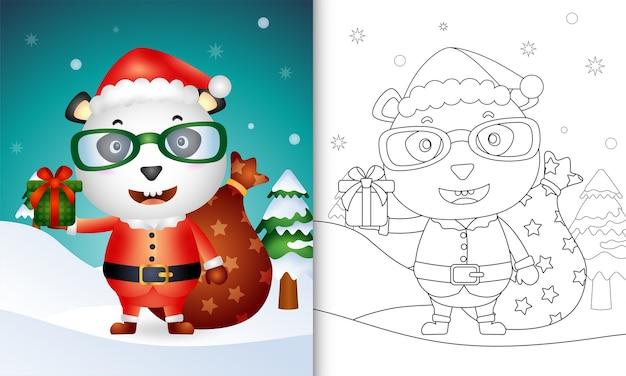 Livro de colorir com um panda fofo usando fantasia de papai noel