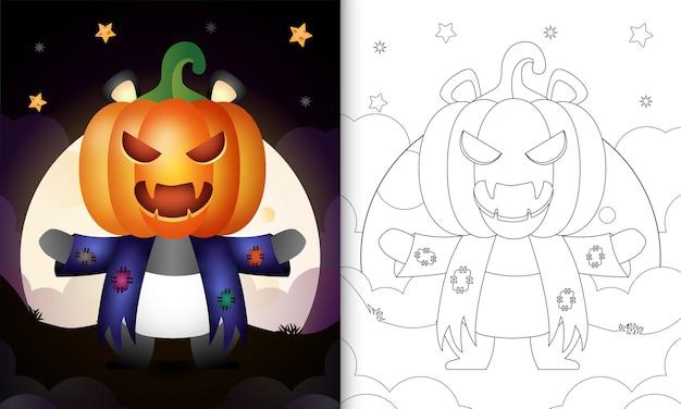 Livro de colorir com um panda fofo usando fantasias de espantalho e abóbora de halloween