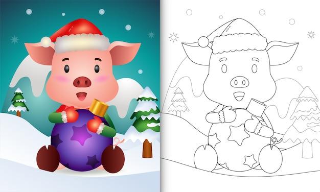 Livro de colorir com um porco fofo abraça a bola de natal