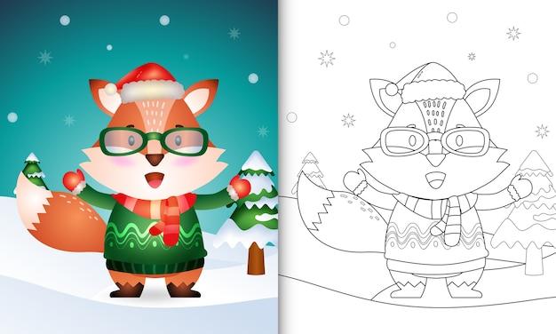 Livro de colorir com uma coleção de personagens de natal de raposa fofa com um chapéu de papai noel, jaqueta e lenço