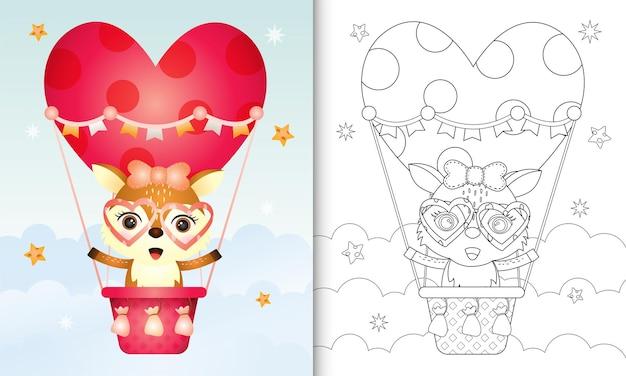Livro de colorir com uma fêmea de veado fofa em um balão de ar quente com o tema do dia dos namorados
