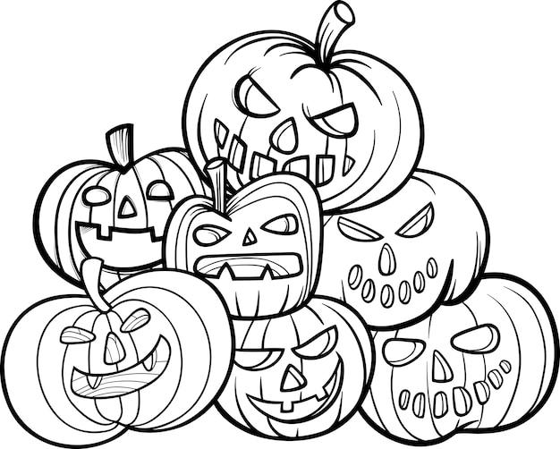 Livro de colorir das abóboras de halloween