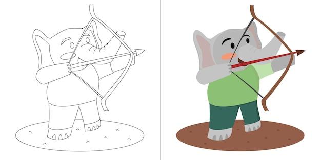 Livro de colorir de arqueiro de elefante bonito dos desenhos animados de crianças ou página para crianças