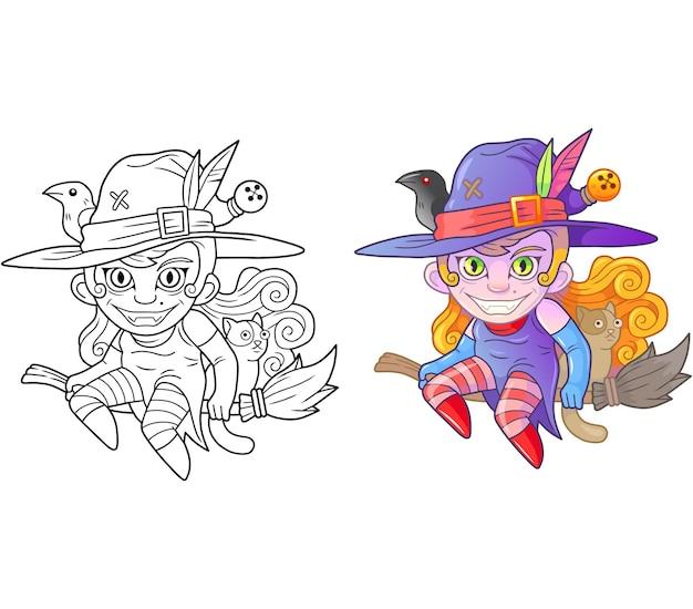 Livro de colorir de bruxa de desenho animado