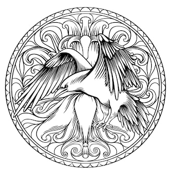 Livro de colorir de corvo para adultos, desenho linear em círculo