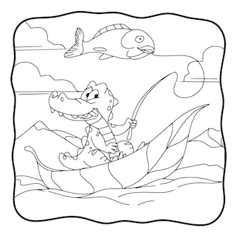 Livro de colorir de crocodilo de pesca de ilustração de desenhos animados ou página para crianças em preto e branco